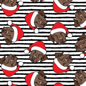 Christmas Labs - Chocolate Labrador Retriever with Santa hats - black stripes -  LAD19