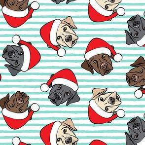 Christmas Labs - All the labs - Labrador Retriever with Santa hats - aqua stripes -  LAD19