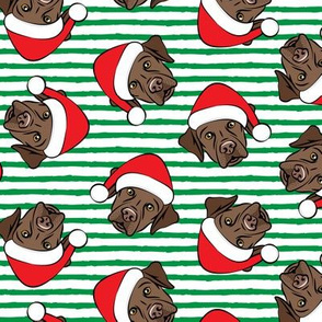 Christmas Labs - Chocolate Labrador Retriever with Santa hats - green -  LAD19