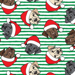 Christmas Labs - All the labs - Labrador Retriever with Santa hats - green stripes -  LAD19
