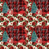 Christmas floral Rose's and plaid