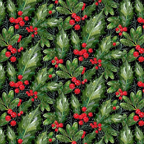 Christmas Snow Holly | Black Solid Bkgnd