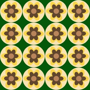 retro flowers yellow green beige brown