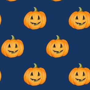 Jack-o'-lantern Rows Halloween Pumpkins on night sky navy - medium scale
