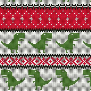 Dino Fair Isle - Red &  Green 2 - T-rex winter knit - LAD19