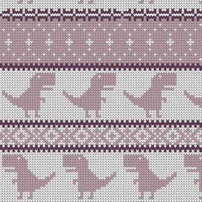Dino Fair Isle - mauve - T-rex winter knit - LAD19