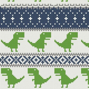 Dino Fair Isle - green and blue - T-rex winter knit - LAD19