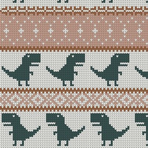 Dino Fair Isle - blush & green - T-rex winter knit - LAD19