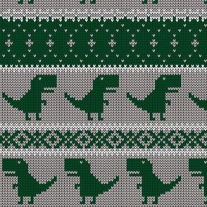 Dino Fair Isle - grey and green - T-rex winter knit - LAD19