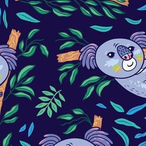 koalas in eucalyptus forest_navy