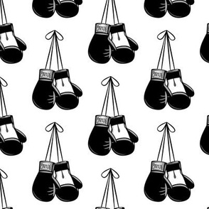 boxing gloves on string - black and white - LAD19