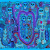 Halloween Skeleton Dance Party Embroidery Design- Light Blue