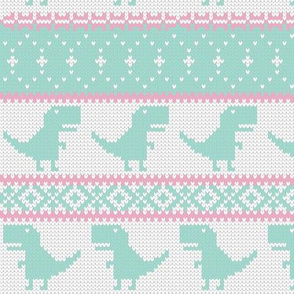 Dino Fair Isle - pink and aqua - T-rex winter knit - LAD19