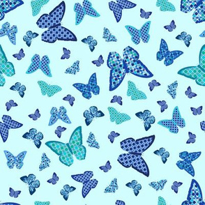 Mosaic Butterflies on Blue