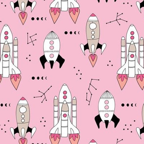 Outer space shuttles and rockets universe stars and moon landing galaxy design girls pink