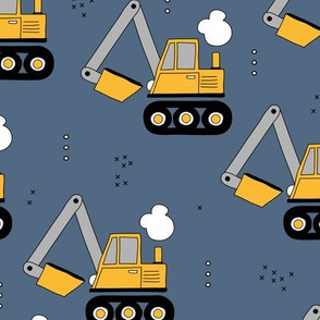 Little yellow digger construction vehicles yellow blue boys