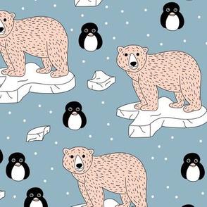 Sweet polar bear and arctic ice berg waters penguin friends blue boys nursery