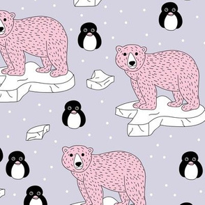Sweet polar bear and arctic ice berg waters penguin friends  lilac pink girls
