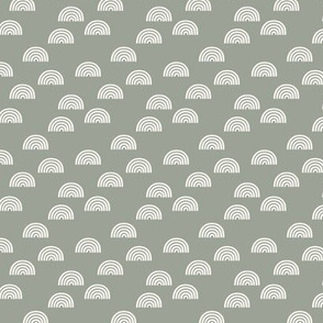 1/2 inch Scattered Rainbow on White on Sage Background