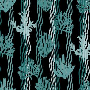 Sweet Coral Reef Dreams Cyan on Black