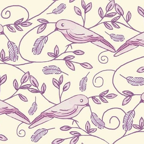 Painted Bunting / Scrolls & Feathers - Birds     -Lavender