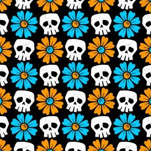 Skulls with Orange and Blue Daisies