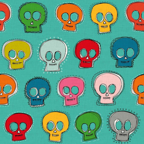 sew skully turquoise