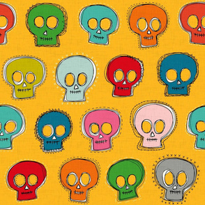 sew skully yellow