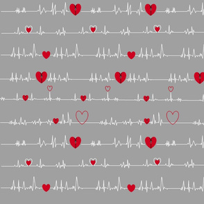 grey zipper open heart EKG