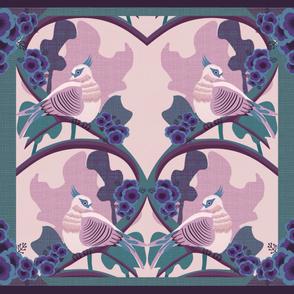 Art Deco Australian Crested Pigeons cheater quilt