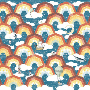 Rainbow nursery Adventure Dreamland Cheater Quilt : Whole cloth quilt,  Moon and Stars kids/baby, Clouds, Narwal, Gender Neutral baby, baby boy, Whimsical