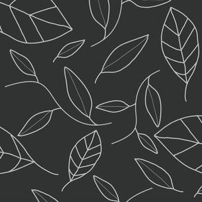 Gray Leaf Outlines on Dark Gray