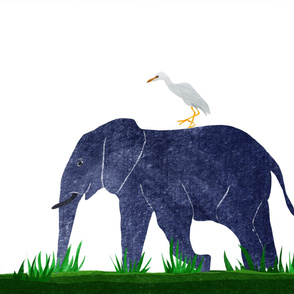 elephant and cattle egret