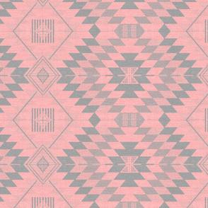 geometric kilim pink_grey