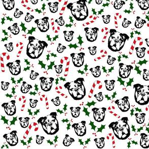 English Bulldog Christmas fabric and gift wrap