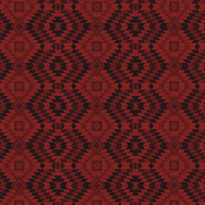 geometric kilim red and black small scale