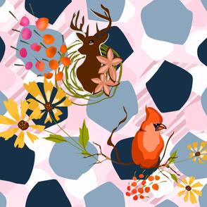 Deer and Cardinal