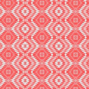 geometric kilim coral small scale