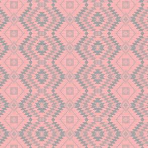 geometric kilim pink_grey small scale