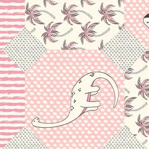 dinosaur cheater quilt - pink