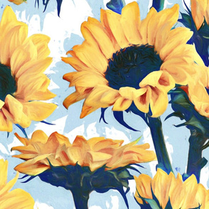 Sunflowers on Pale Blue and White - extra large