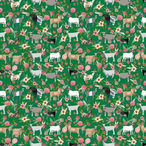 TINY - goat floral fabric - goat floral, farm floral, farm animals floral, nigerian dwarf goat, boer goat - green