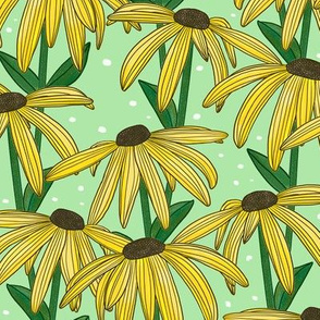 Yellow Daisy (Green Background)