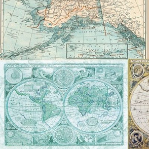 Map Collage - blue