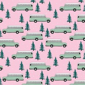 Vintage school bus ride winter mountain peak travels pine tree forest canada theme mint green pink girls