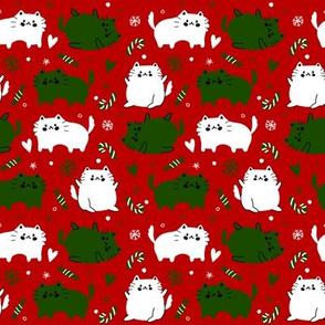 Christmas Cats and Candy Canes - Red Background