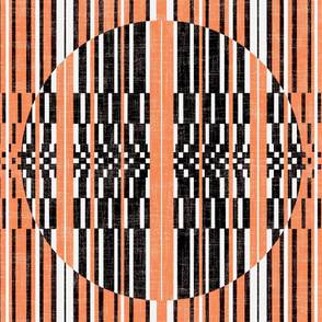 vertical strip quilt with orange