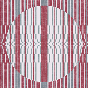 vertical stripped quilt in raspberry