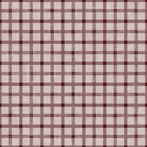 simple plaid in maroon on linen