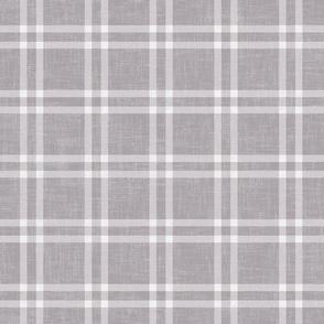 minimal plaid on gray linen